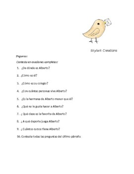 Spanish 1 Pen Pal Letter Reading Comprehension and Writing