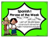 Spanish 1 Phrase of the Week List (Español 1 frase de la semana)