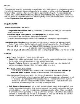 Spanish 1 (Pre-AP/IB) class syllabus
