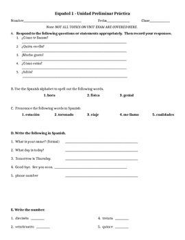 Spanish 1 Preliminary Unit Practice Exam/Study Guide