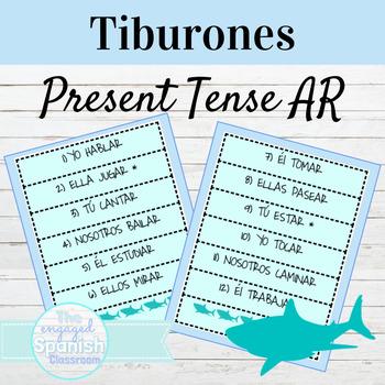 Spanish Present Tense of AR Verbs: Tiburones conjugation game