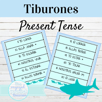 Spanish 1 Present Tense of AR ER and IR Verbs: Tiburones conjugation game