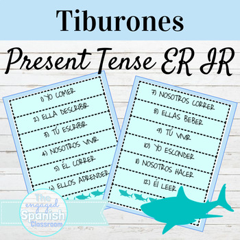 Spanish 1 Present Tense of ER and IR Verbs: Tiburones conjugation game
