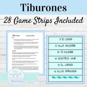 Spanish 1 Present Tense of ER and IR Verbs: Tiburones conjugation game