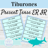 Spanish Present Tense of ER and IR Verbs Tiburones Game