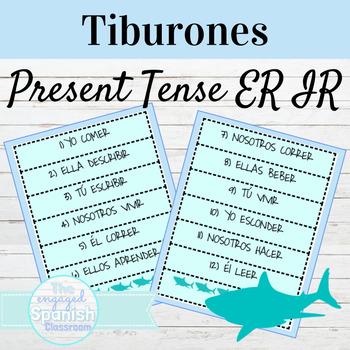 Spanish Present Tense of ER and IR Verbs Tiburones Game