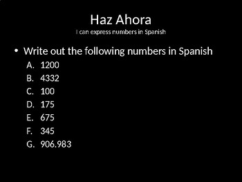 Spanish 1 Price is Right Game for Number Practice