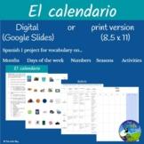 El Calendario (Un mes) Proyecto - Creating a (1 month) Calendar - Spanish 1