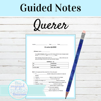 Spanish 1 QUERER Worksheet: Guided Notes or Opener / Exit