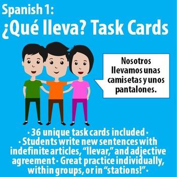 Spanish 1 - Que lleva? - TASK CARDS