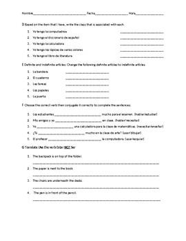 Spanish 1 Quiz: Classes, School Vocab, Indefinite Articles, -ar Verbs + Estar