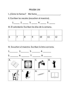 Spanish 1 Quiz First Week or Month