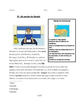 Spanish 1 Reading & 4 activities: School, Classes, Teachers, Honduras