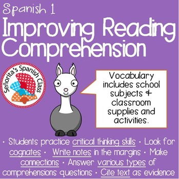 Spanish 1 - Reading Comprehension: My Classes and Teachers