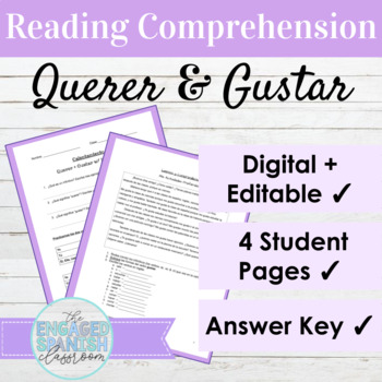 Spanish 1 Reading Comprehension: Querer + Gustar w/ Infinitives