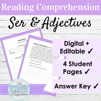 Spanish 1 Reading Comprehension: Ser and Describing People (Adjectives)