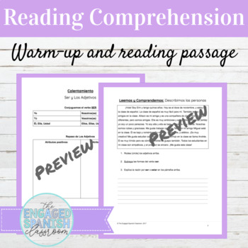 Spanish Ser and Adjectives Reading Comprehension Packet
