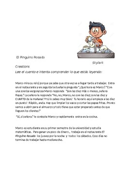 Spanish 1  Reading Comprehension - Working in Restaurant