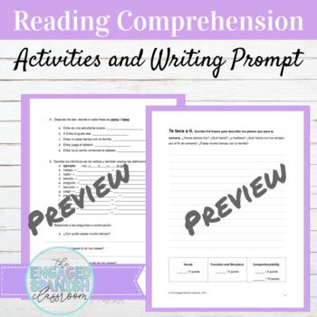 Spanish 1 Present Tense Reading Comprehension: -AR Verbs, IR and JUGAR