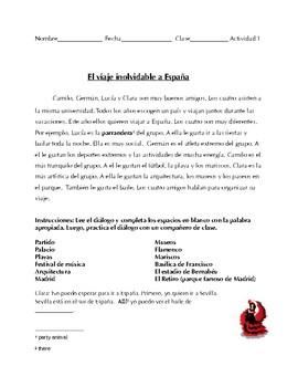 Spanish 1+ Reading, Dialogue- Travel Spain, present tense, Stem-changing verbs