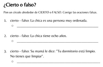 Spanish Realidades 1 Cap. 6A - Tu dormitorio está muy desordenado (TPRS-style)