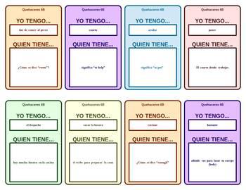 Spanish 1 Realidades 6B Card Games for circumlocution: La casa y quehaceres