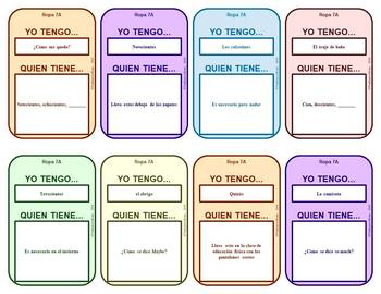 Spanish 1 Card Games for circumlocution about La ropa or clothing