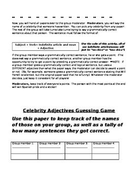 Spanish 1 Realidades I 1 1B Gender order adjective celebrity guessing game artic