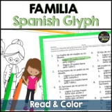 Spanish 1 reading and coloring worksheet on family vocabulary