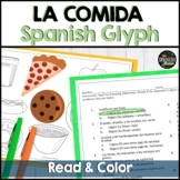 Spanish 1 reading and coloring activity on food