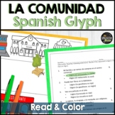 Spanish 1 (Realidades) reading and coloring activity- Places around town