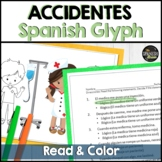 Preterite and imperfect Glyph reading worksheet on Accidents