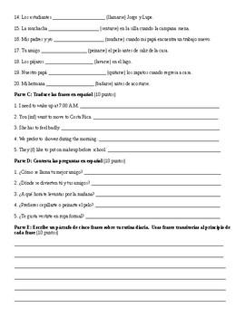 Spanish 1: Reflexive Verb Test