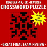 Spanish 1 - Regular -AR, -ER, -IR verbs Crossword Puzzle