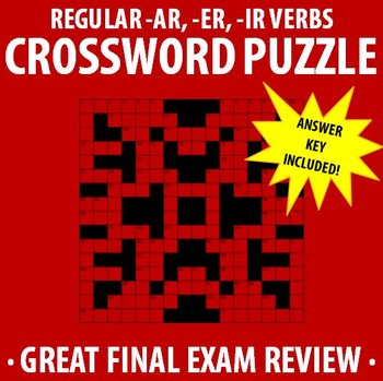 Spanish 1 - Regular -AR, -ER, -IR verbs Crossword Puzzle