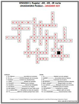 spanish 1 regular ar er ir verbs crossword puzzle tpt. Black Bedroom Furniture Sets. Home Design Ideas