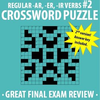 Spanish 1 - Regular -AR, -ER, -IR verbs Crossword Puzzle VERSION #2