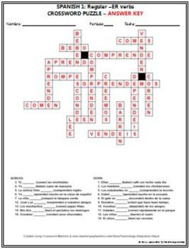 Spanish 1 - Regular -ER verbs Crossword Puzzle