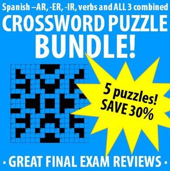 Spanish 1 - Regular Verbs Crossword Puzzle BUNDLE!