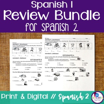 Spanish 1 Review Bundle {for Spanish 2}