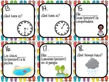 Spanish 1 Review Task Cards | Back to School, End of Year Review Activity