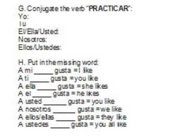 Spanish 1 Review Worksheet - Great for Spanish 2!