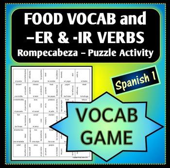 Spanish 1 - Rompecabeza Vocab Words Game/Activity - FOOD a