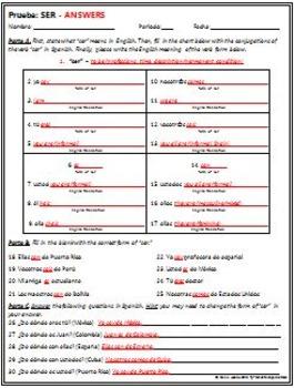 Spanish 1 - SER quiz
