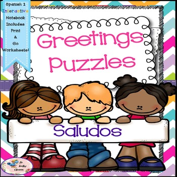 Spanish 1 Saludos - Greetings Puzzles - Interactive Notebooks