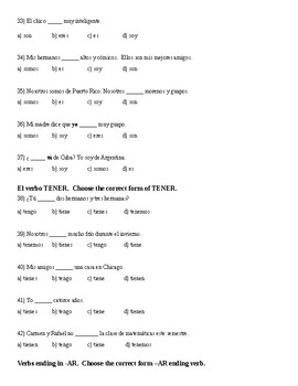 Spanish 1 Semester 1 Final Exam with Answer Key