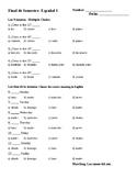 Spanish 1 Semester 1 Final Exam with Answer Key
