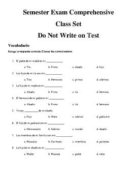 Spanish 1 Semester exam
