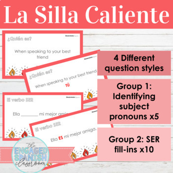 Spanish 1 Ser, Subject Pronouns, and Adjective Agreement HOT SEAT GAME