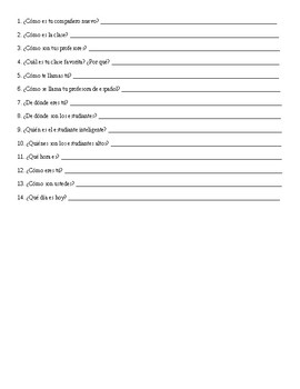 Spanish 1: Ser Worksheet
